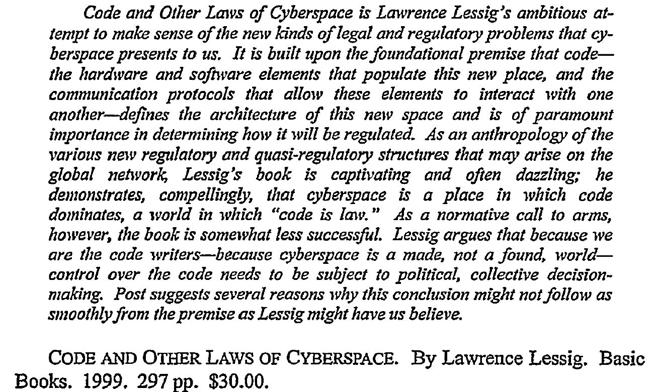 Name:  CODE and Other Laws of Cyberspace.jpg Views: 15 Size:  449.9 KB